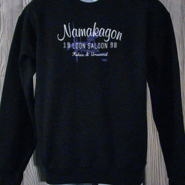 "Loon Saloon Namakagon ""Relax & Unwind"" Black Sweatshirt"