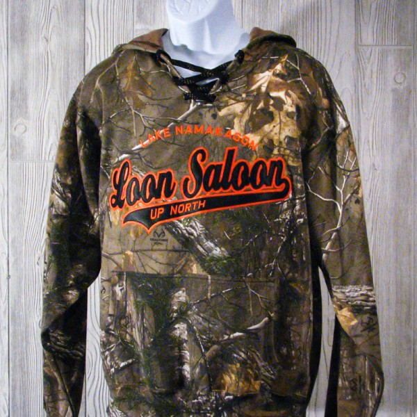 Loon Saloon Lace-Up Hooded Camo Sweatshirt